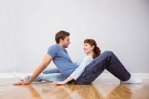 talking couple on floor