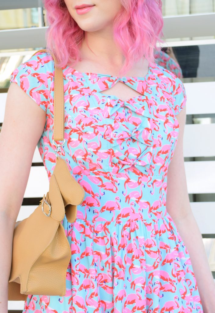 Flamingos and Dachshunds, a fashion post with Los Angeles Cruelty-Free Beauty Blogger, Emily Wolf Beauty. eshakti FLAMINGO PRINT BOW FRONT CREPE DRESS, chopin roma dachshund purse
