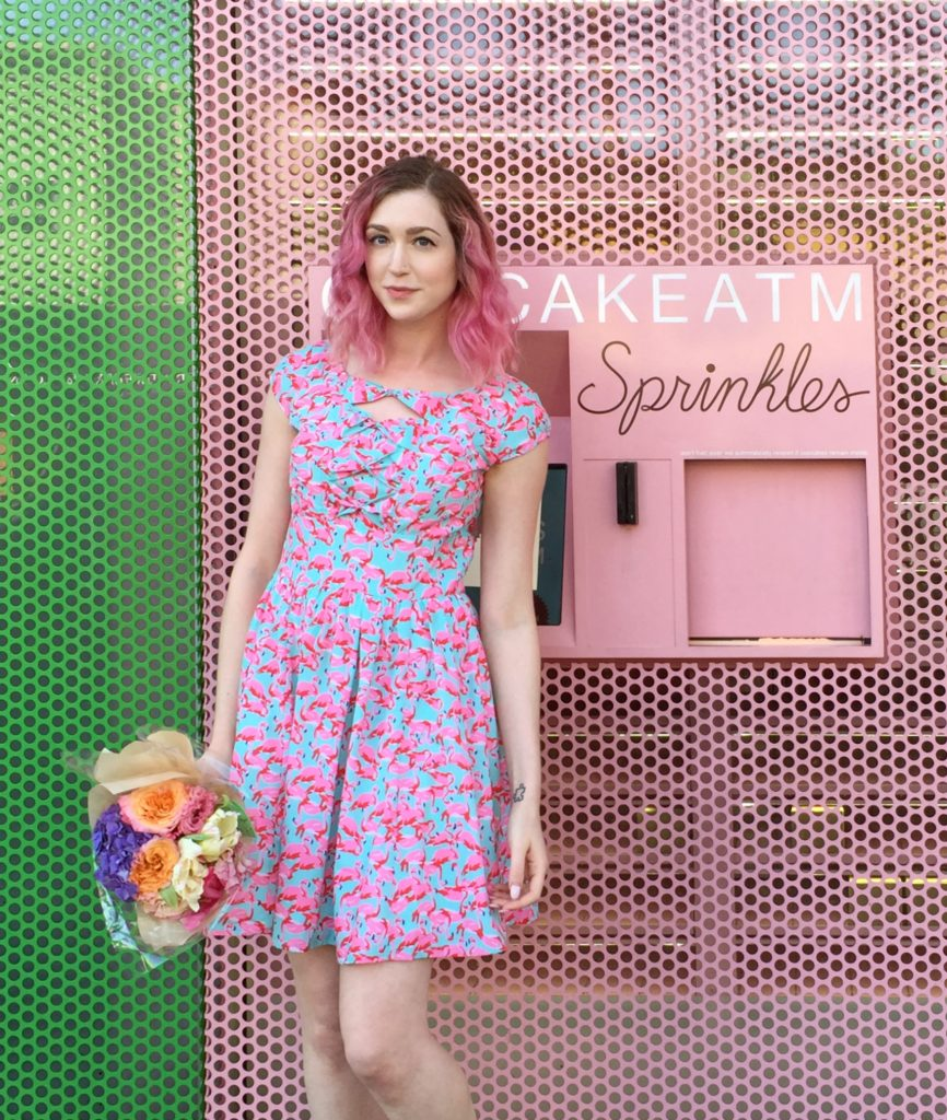 Flamingos and Dachshunds, a fashion post with Los Angeles Cruelty-Free Beauty Blogger, Emily Wolf Beauty. eshakti FLAMINGO PRINT BOW FRONT CREPE DRESS