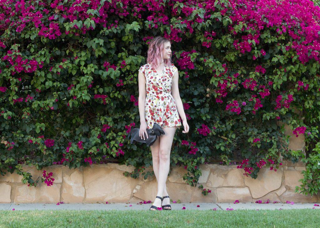 Bebop Cap Sleeve Floral Crepe Romper, Forever21 Black Flatform Sandals, Black Chopin Roma Dachshund clutch bag, black choker necklace,