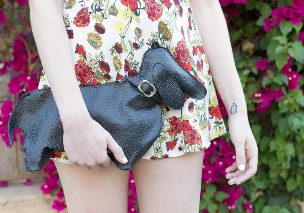 Bebop Cap Sleeve Floral Crepe Romper, Black Chopin Roma Dachshund clutch bag,