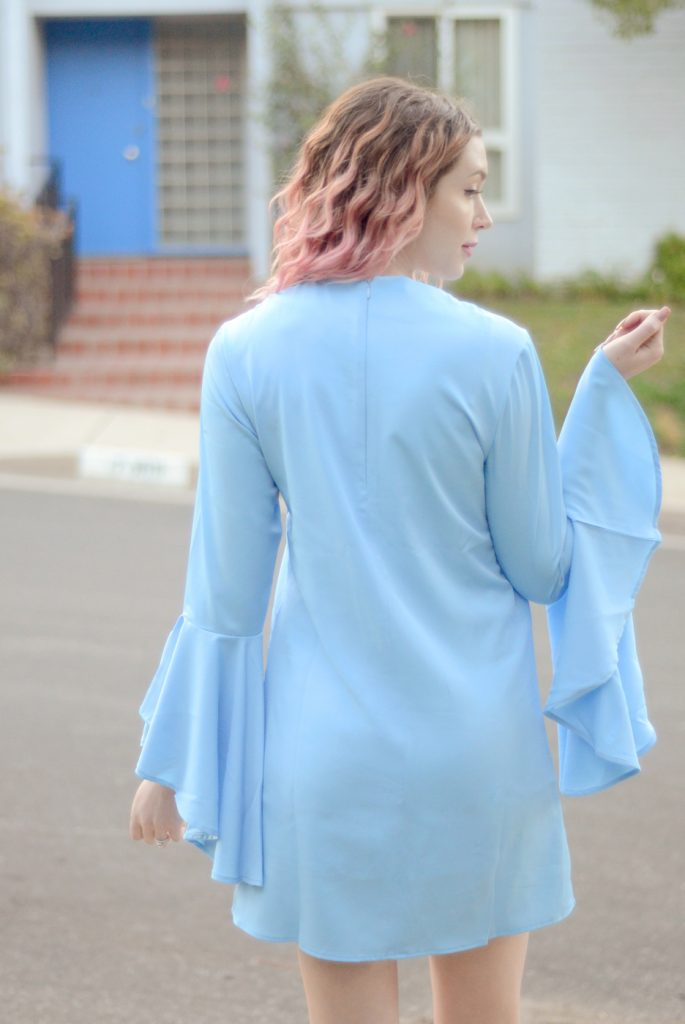VIPme light blue bell sleeve dress