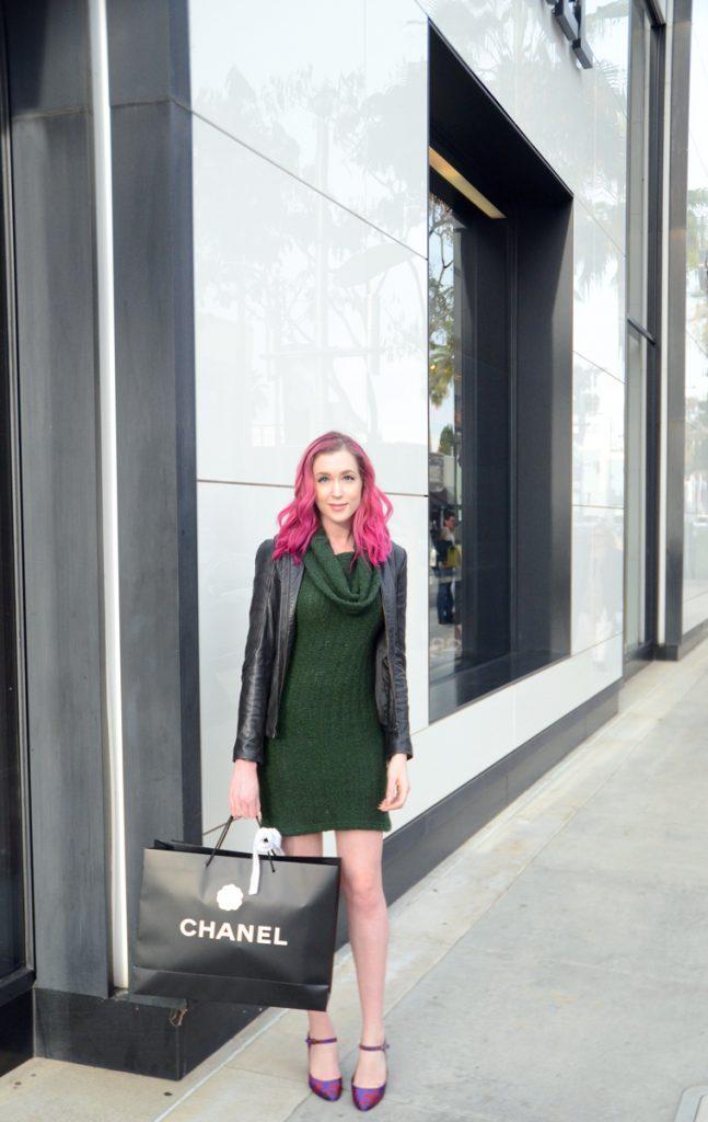 Chanel Classic Flap packaging, via spiga deanna, green sleeveless sweater dress, DKNY black leather jacket