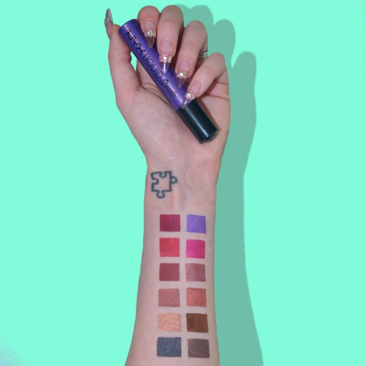 NYX Liquid Suede Metallic Matte swatches