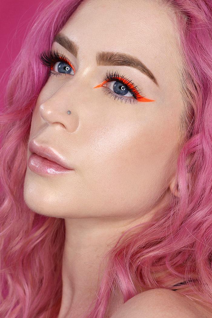 Orange Winged Eyeliner Tutorial Using SUVA Beauty Hydra Liner