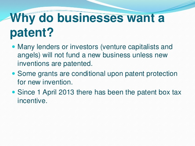 Why do business want patent