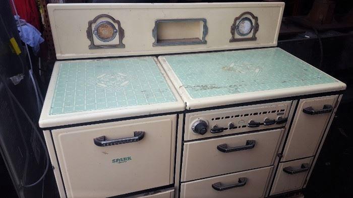 white green stove