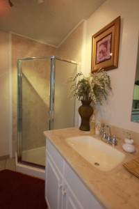 Shower w-doors w-matching Bath Vanity-Cultured