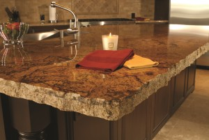 Brazilian granite kitchen with chiseled edging