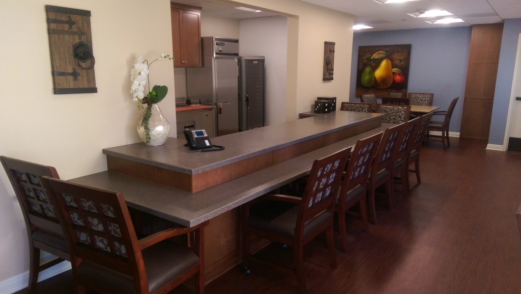 Westmont Senior Living Solid Surface Livingstone Bar and Table