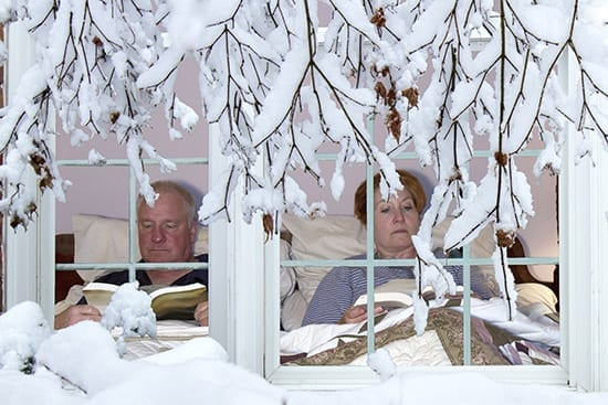 2 people stuck inside on a winter day