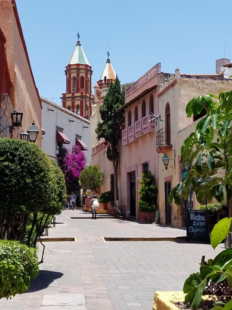 Walking street leading up to a plaza in Queretaro, Mexico