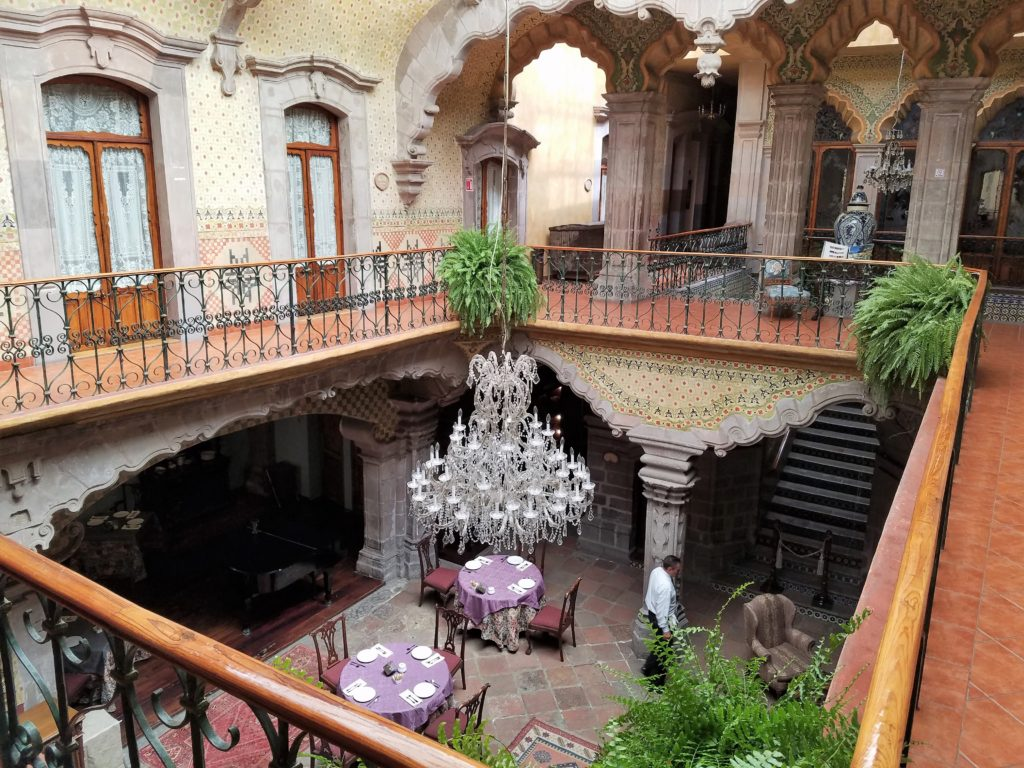 Inside courtyard from above of La Casa de la Marquesa, Queretaro, Mexico