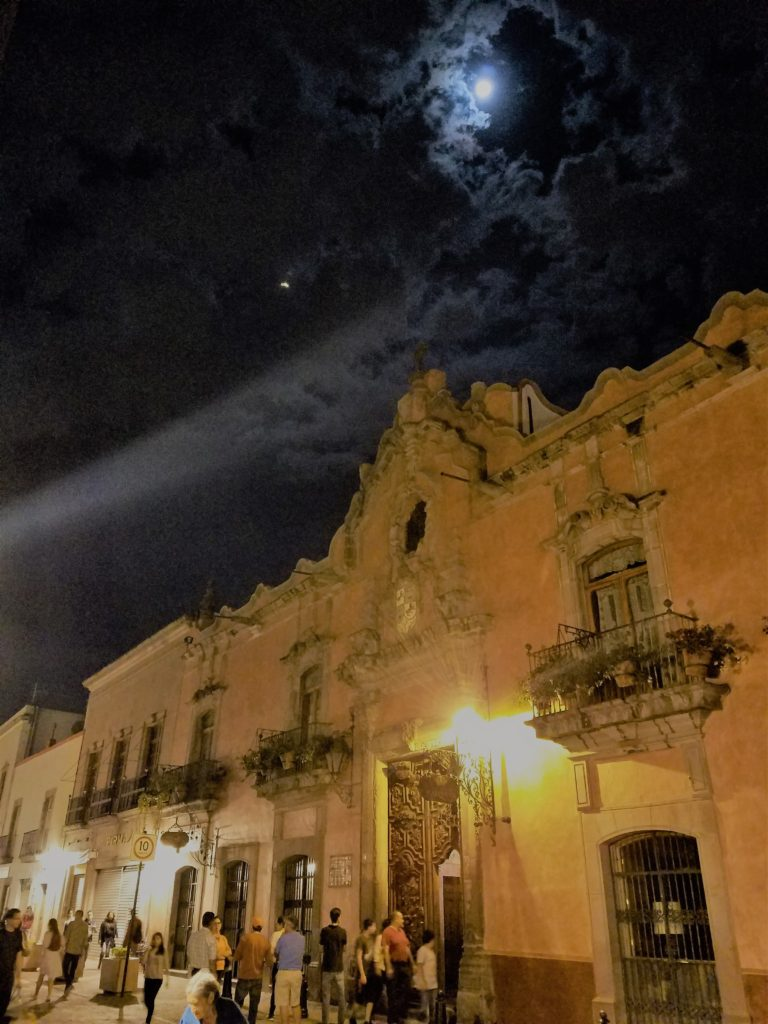 Night picture of La Casa de la Marquesa in histrico centro Queretaro, Mexico