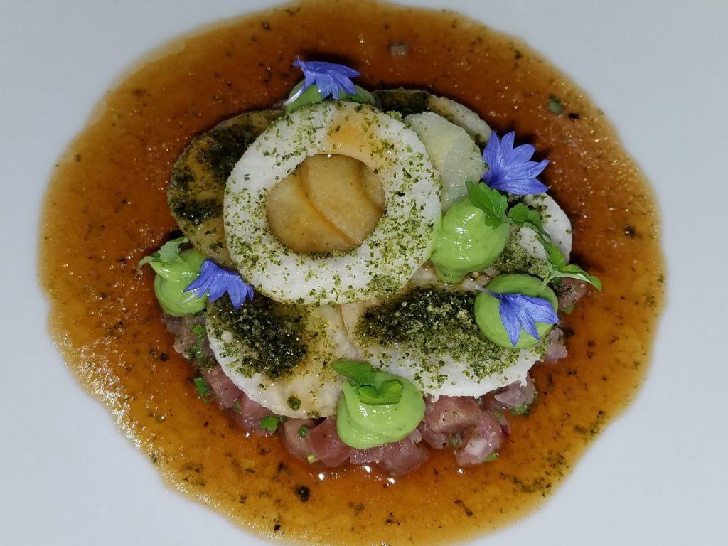 Atun Aleta Amarilla at Lula Bistro. Japanese twist with mostly Mexican ingredients. Tuna tartar, apple, jicama, yuzu and garlic-vinegar sauce at Lula Bistro in Guadalajara, Mexico