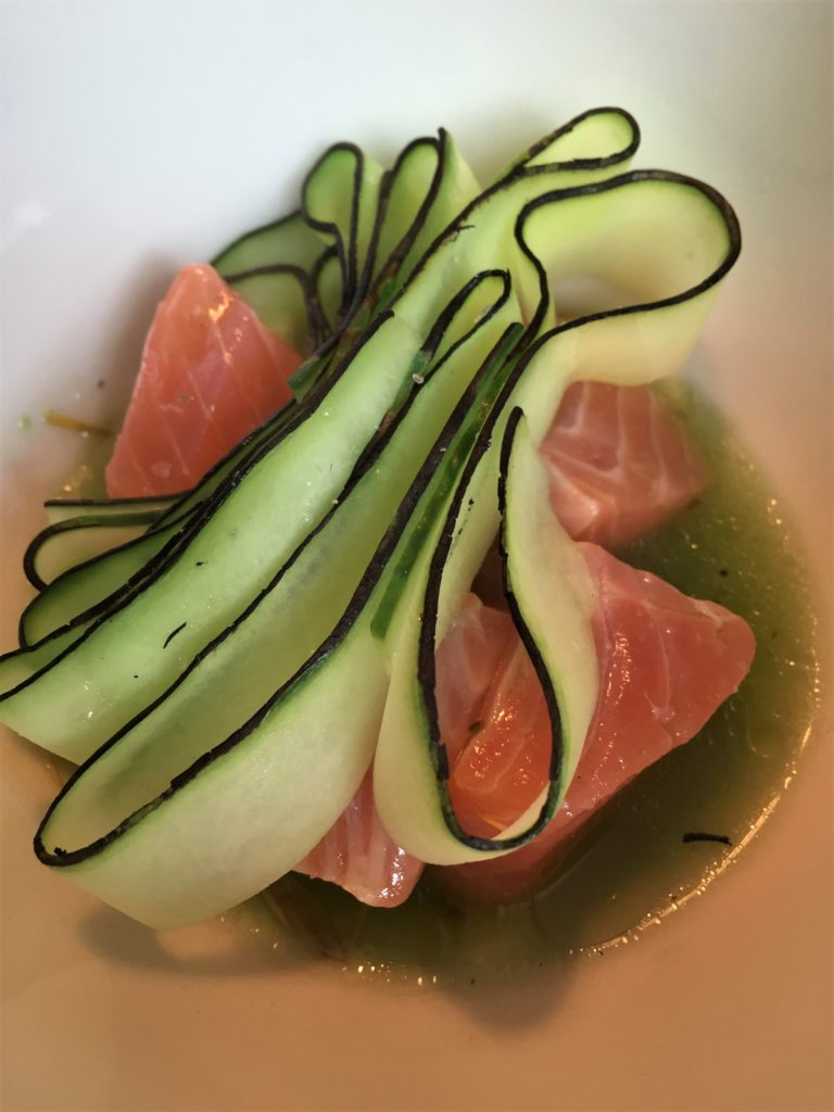 Trout, cucumber ribbons, and pine