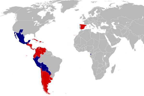 Map of the world with the 20 countries that speak Spanish highlighted
