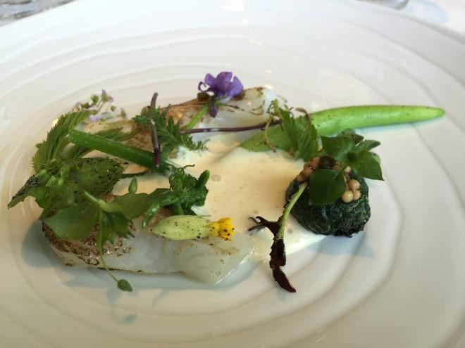Brill fish dish at Geranium- Copenhagen, Denmark