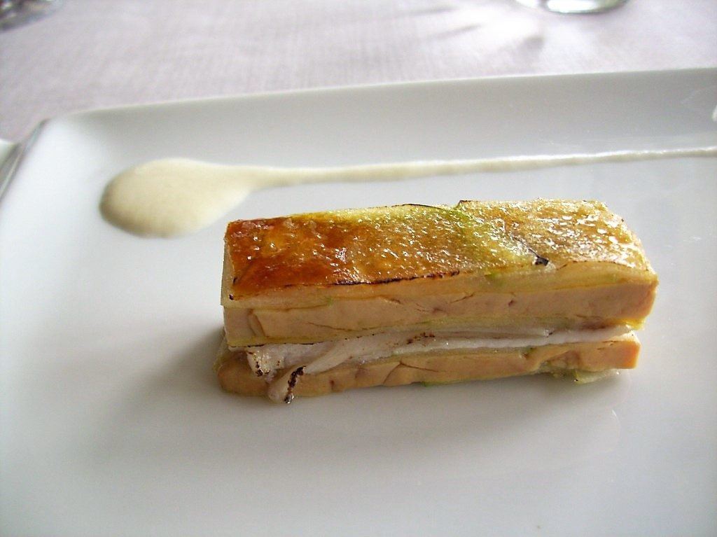 Mille-Feville of Smoked Eel, Foie Gras, Spring Onions, and Green Apple at Martin Berasategui