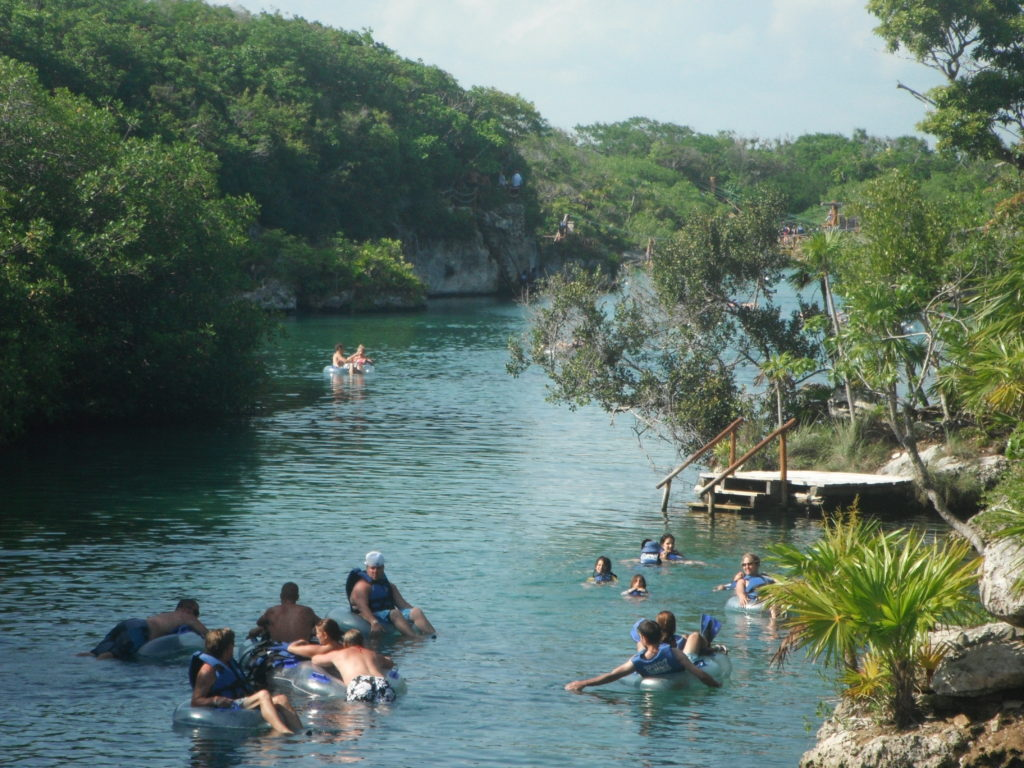 People floating through the lagoon at Xel-Ha, Mexico