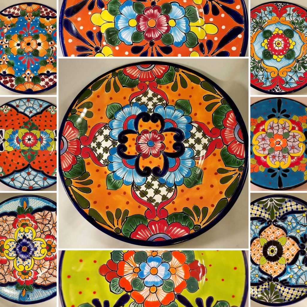 Hand painted ceramic plates the Mercado de Artesanias La Ciudadela, Mexico CIty