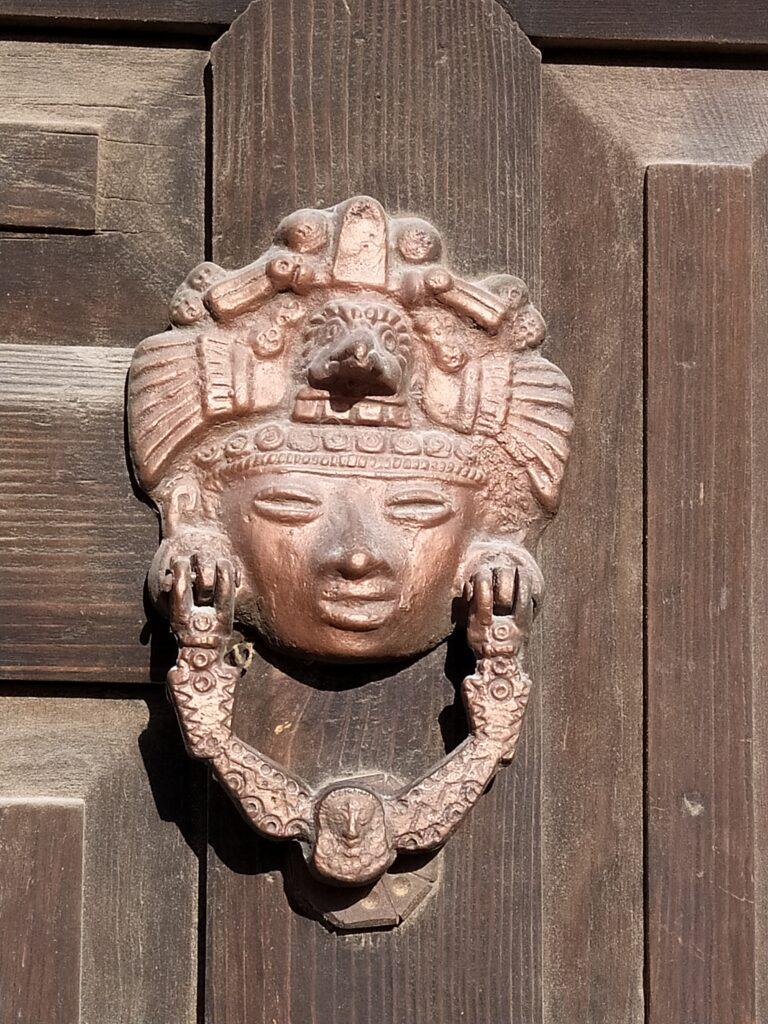 Aztec design doorknob in San Miguel de Allende