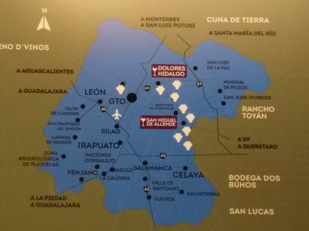 Map of the state of Guanajuato and the wine route