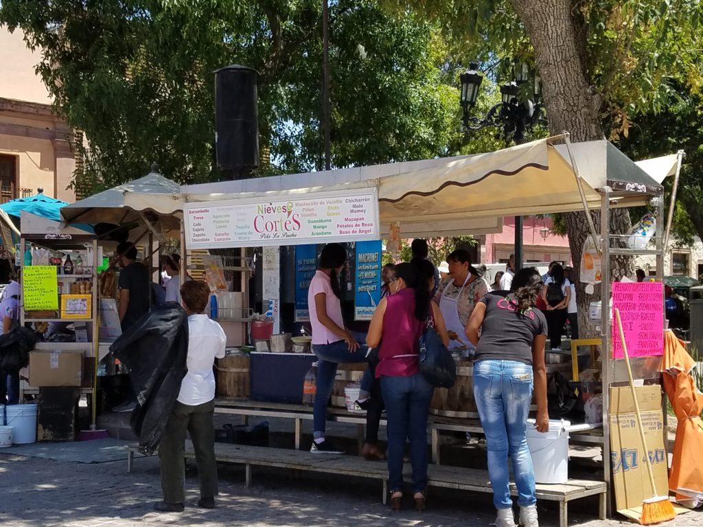 ice cream vendor in the plaza in Dolores Hidalgo
