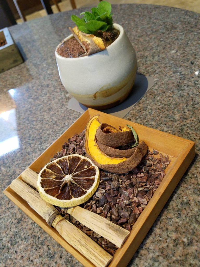 Cacao and citris aperitif at Kjolle- Lima, Peru