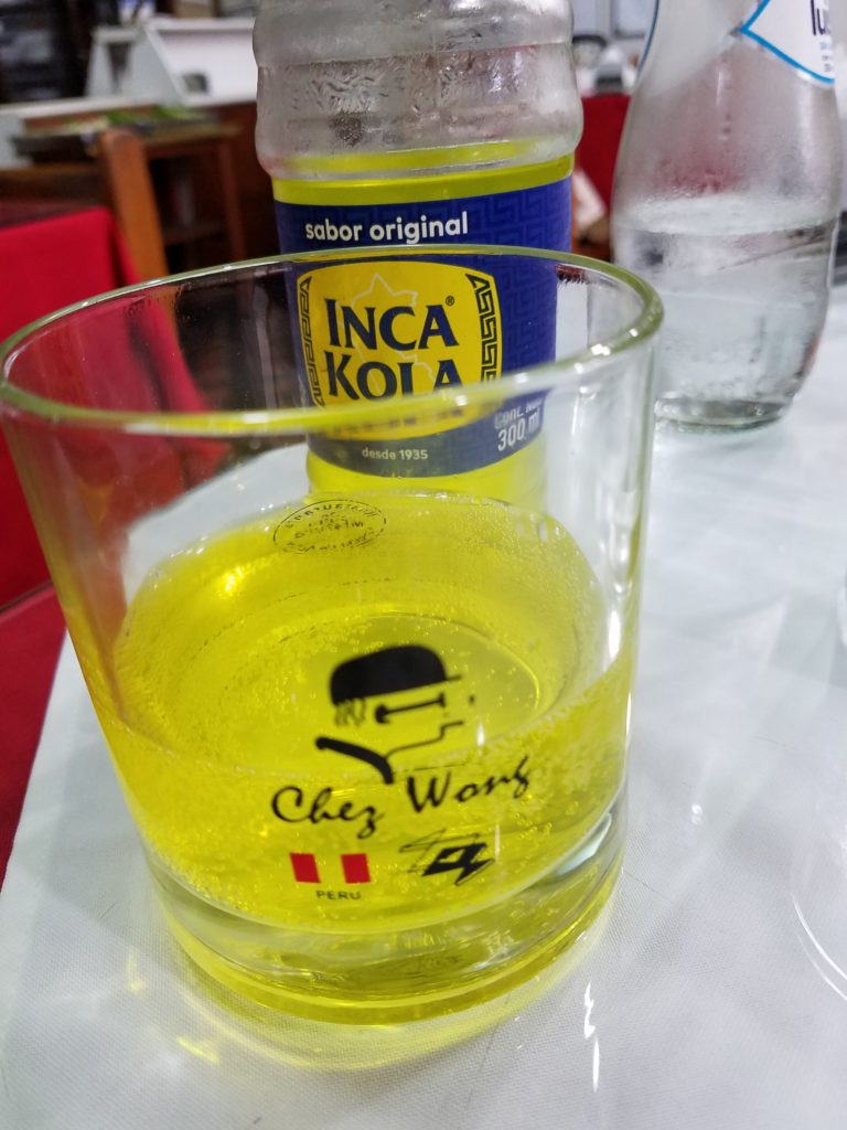Inca cola in a glass at Chez Wong, Lima, Peru