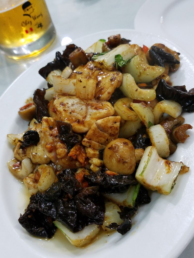 Chifa cuisine at Chez Wong: Turbot, mushrooms, cashews, vegetables soy sauce and sesame seed oil