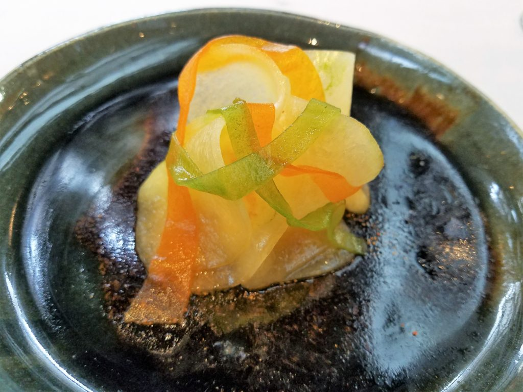 OCEAN FLOOR scallop, sweet cucumber, seaweed at Central in Lima, Peru
