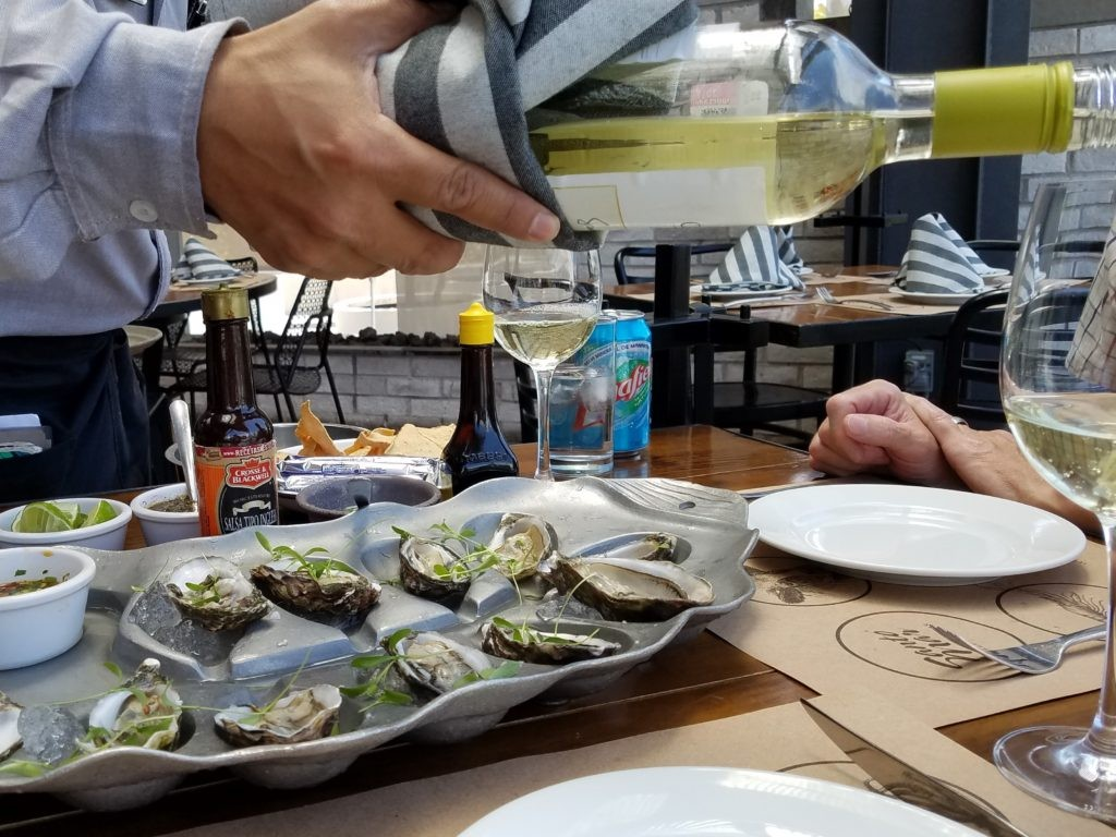 Oysters and Wine at Santa Mar restaurant in Queretaro, Mexico