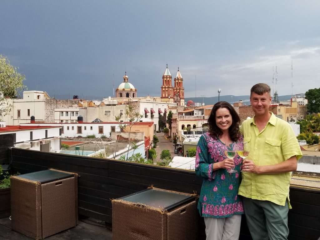 Tiffany and Tom in Centro historico, Queretaro in Colonial Mexico