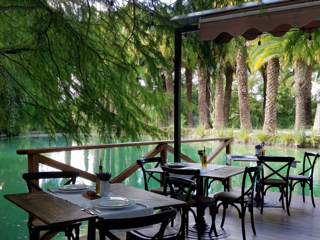Outdoor Restaurant Overlooking the Lake at La Santisma Trinidad Winery, Mexico