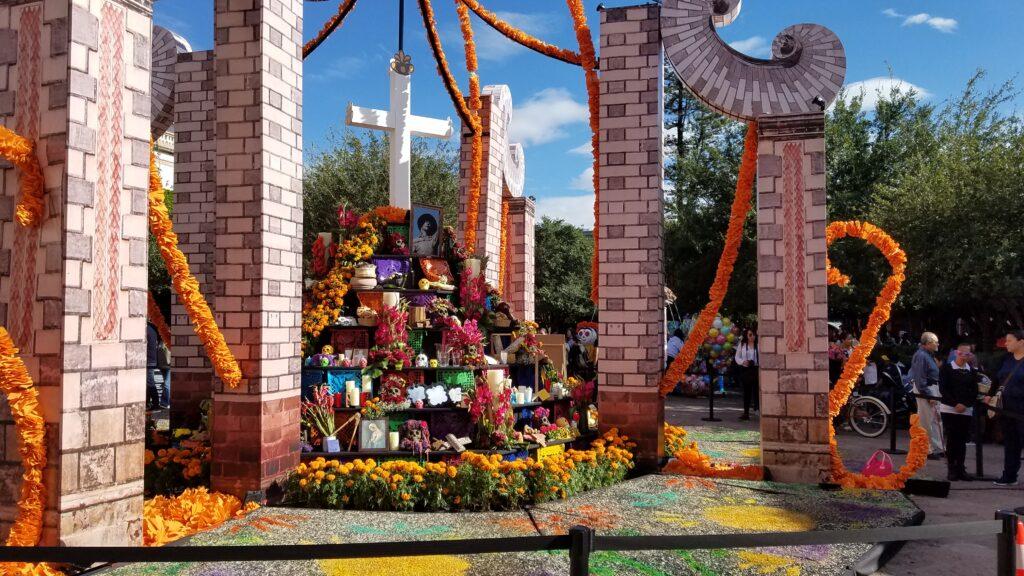 Elaborate altar in a plaza, Queretaro