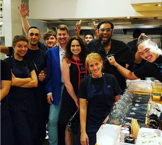 Tom and Tiffany with chef team of Gaggan, Bangkok, Thailand