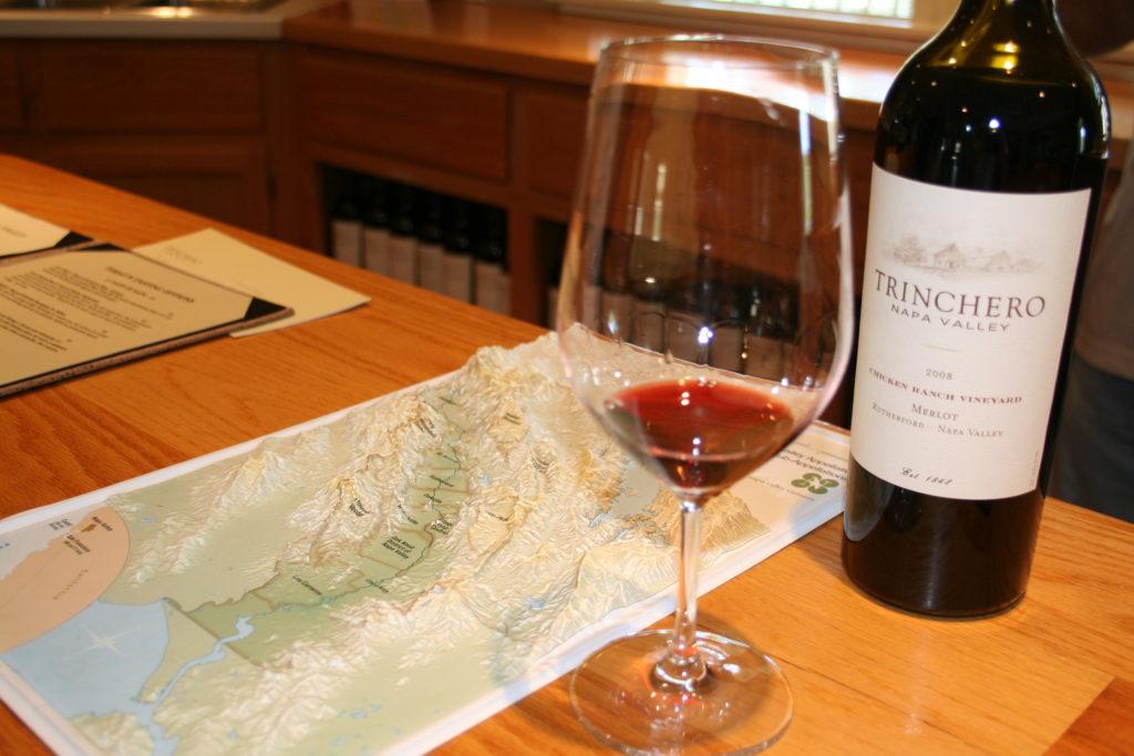 Bottle of Trinchero wine at winery tasting in Sonoma, California