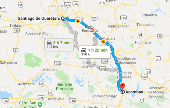 Google map from Queretaro to Acambay, Mexico