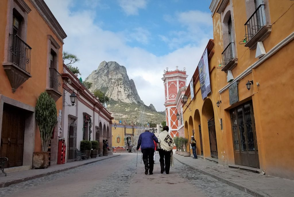 Street view looking towards Peña de Bernal, Mexico