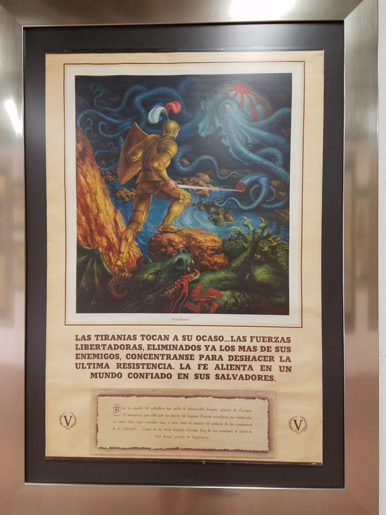 Calendar art depicting the Mexican knight slaying the German dragon and Japanese squid. Calendar Museum, Queretaro