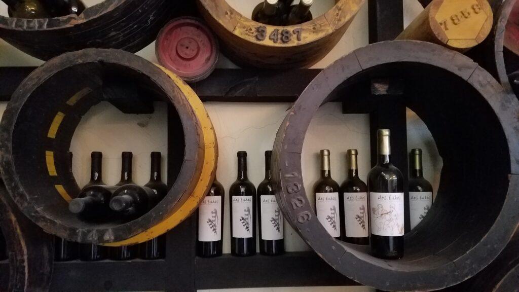 Wine display at Dos Buhos near San Miguel de Allende