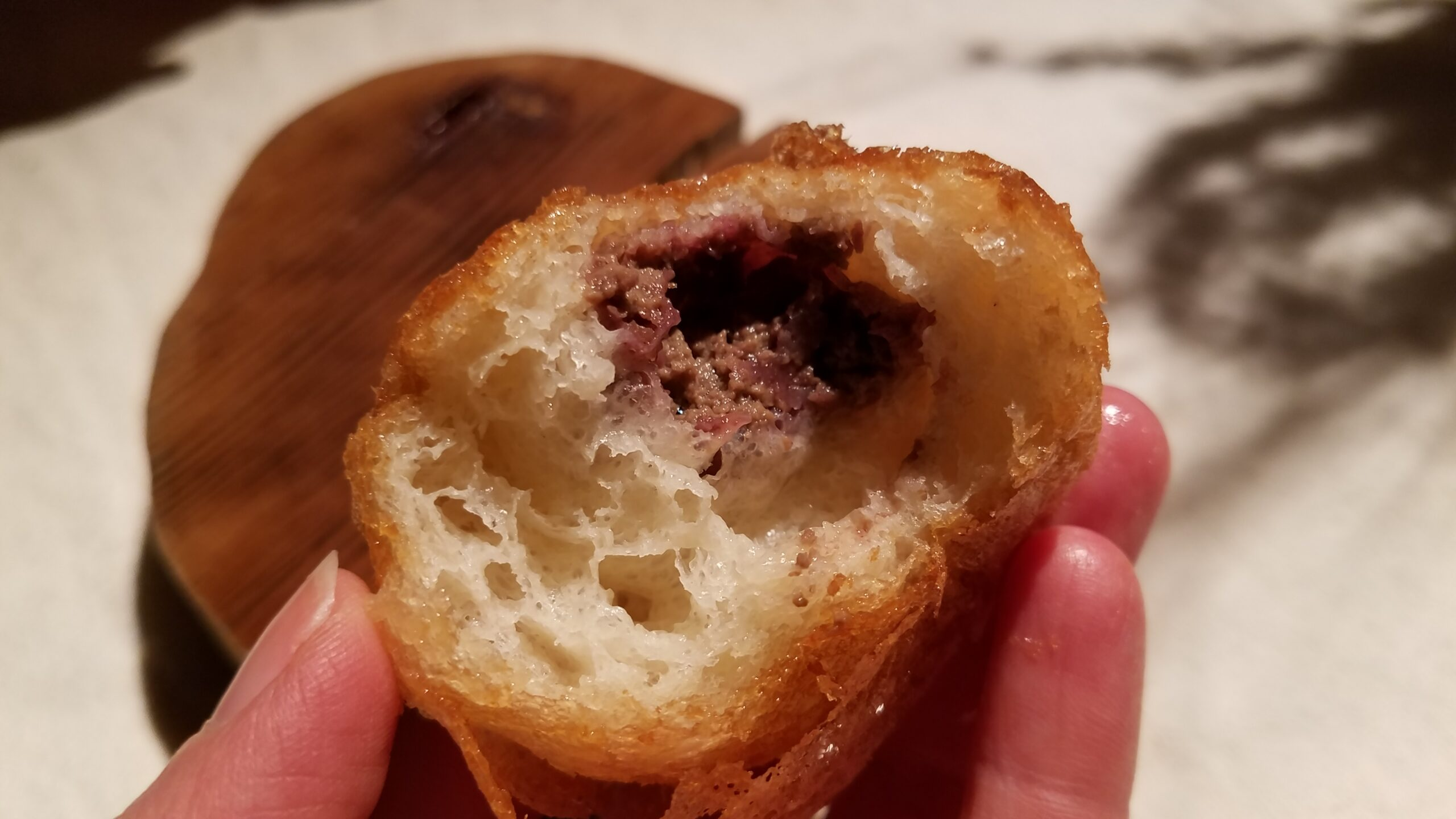 3. donut with pate of lamb brains and preserved red fruits-2
