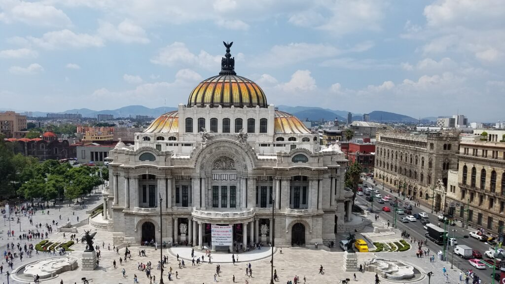 View of the Palacio de Bellas Artes from the cafe on top of Sears, Mexico City
