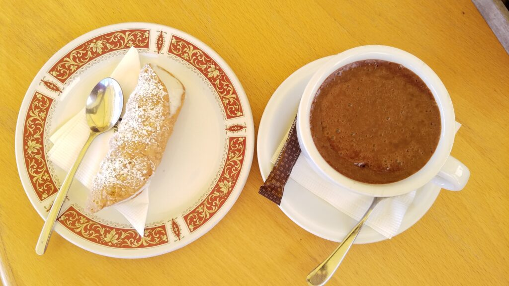 Sheep's milk cannoli and hot chocolate, Blue Grotto, Malta
