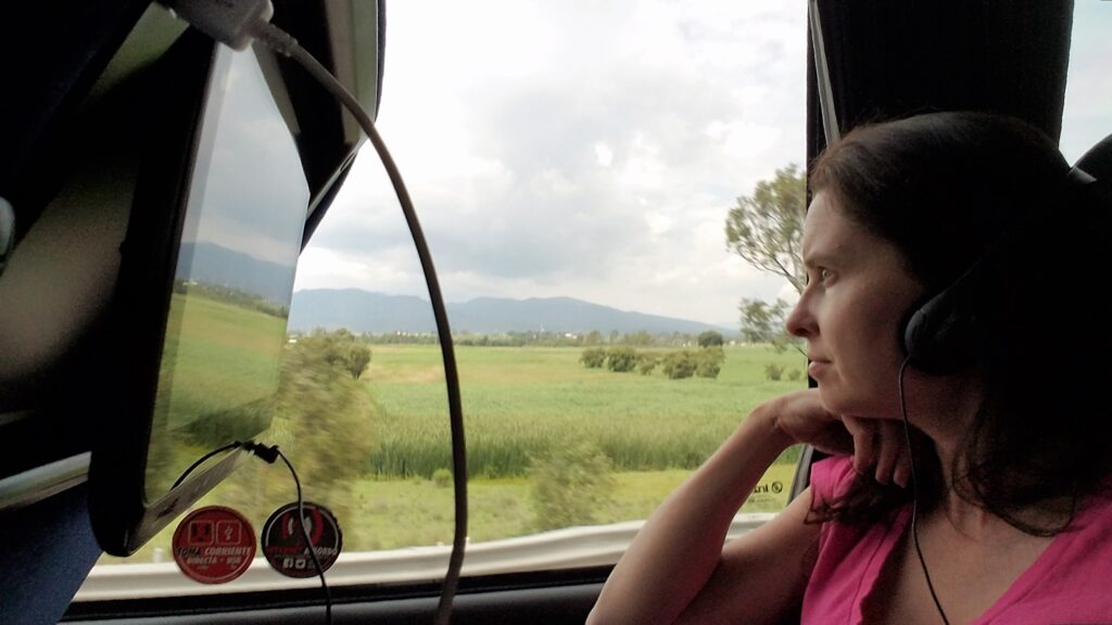 Relax with movies, a reclining seat and USB charge port on bus travel through Mexico
