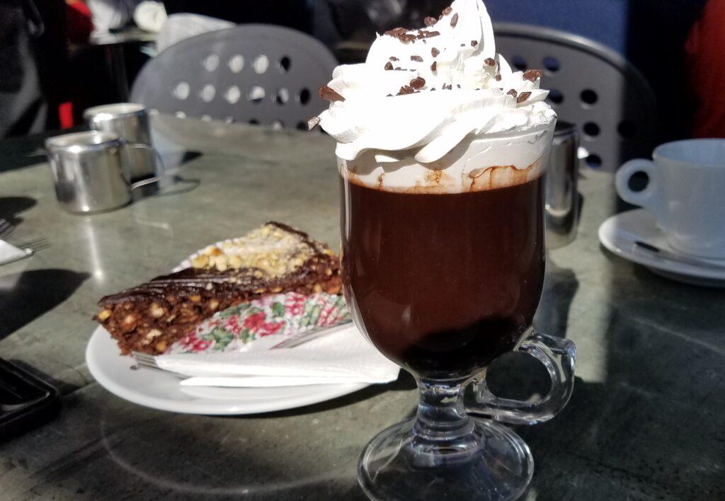 Hot chocolate and Baci Cake at Fontanella Tea Garden, Mdina, Malta