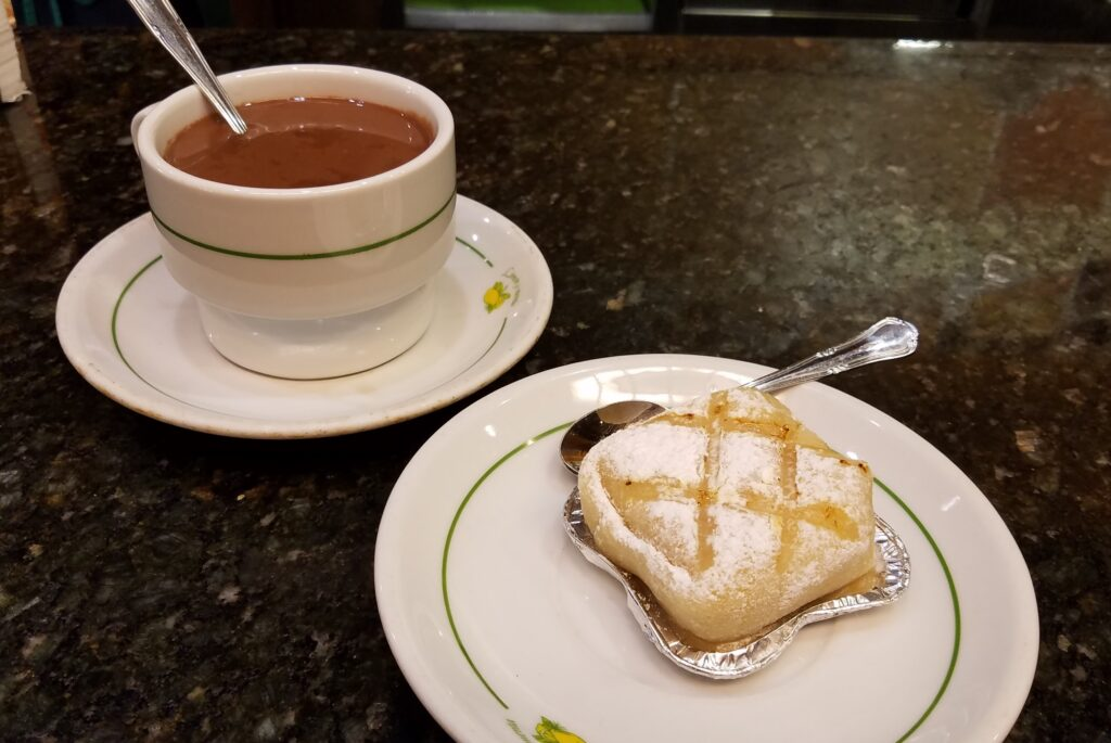 Hot chocolate with the traditional Ponche Segoviano, Segovia, Spain