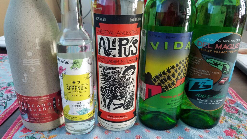 Mezcal and tequila bottles