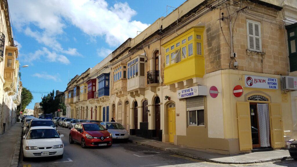 Colorful enclosed balconies in Malta